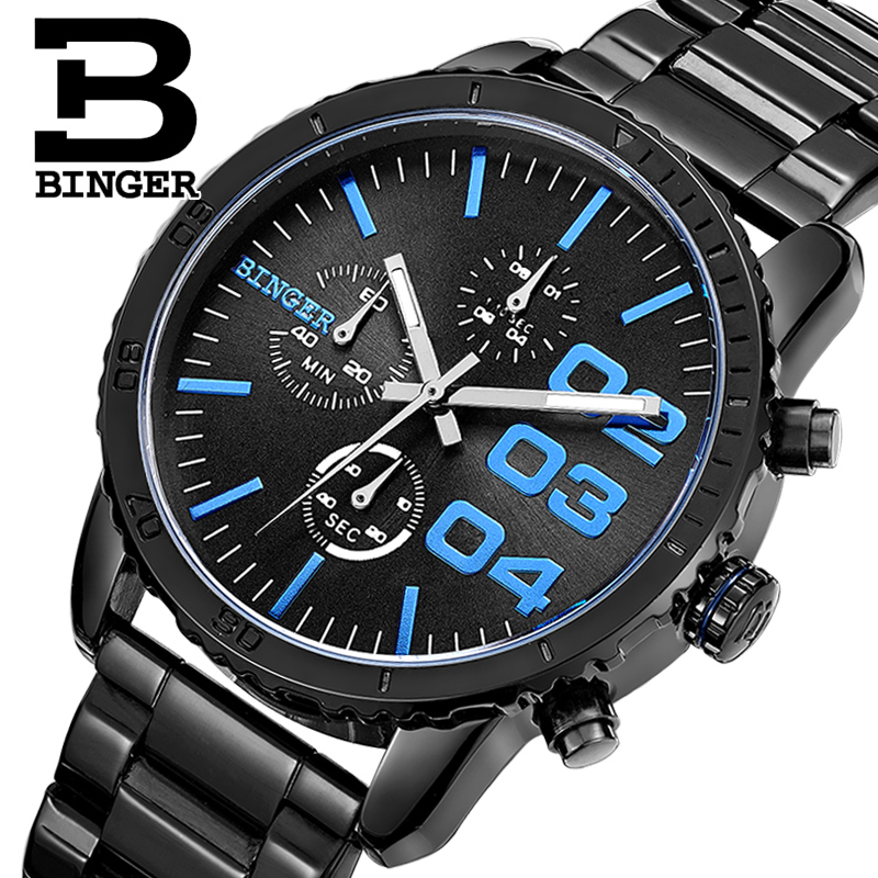 HOT Brand Fashion Casual Sport Watches Man Quartz Wristwatches Binger Waterproof Watch Men Clock Reloj Relogio Masculino 2017 new binger fashion casual cow leather watches waterproof wristwatches hours for man sapphire orange quartz watch