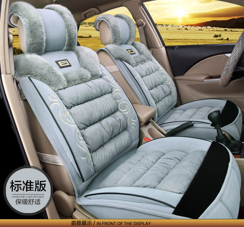 Universal Faux Fur Soft Flax Car Seats Cushion Winter Auto Seats Cover Business for all  ...