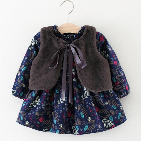 Sodawn 2018 Autumn Winter Baby Girls Clothing Long-Sleeved Floral And Velvet Dress Fashion Fur Vest 2pcs Children Clothing Lahore