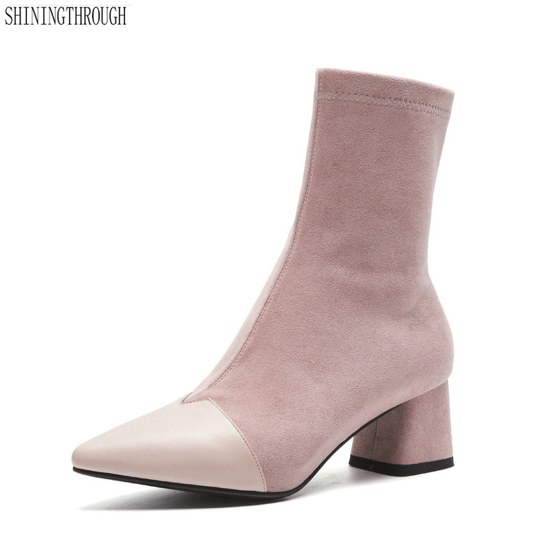 black gray pink Ankle Elastic Sock Boots Chunky High Heels Stretch Women Autumn Sexy Pointed Toe Women boots large size 42 zorssar fashion ankle elastic sock boots chunky high heels stretch women autumn winter sexy booties women ankle boots size 43