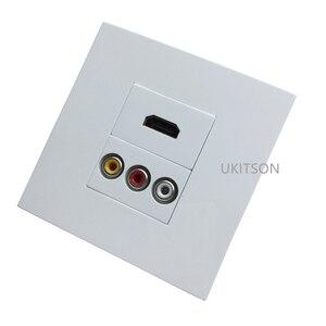 Image 3 - 화이트 컬러 HDMI2.0 3RCA 벽 패널 86mm 플레이트 오디오 비디오 플러그 소켓 여성 RCA 커넥터 여성
