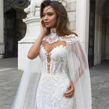 Smileve 2019 sirena/trompeta de encaje vestidos de boda para las mujeres sin mangas sin tirantes, aplicaciones de encaje Sexy sin espalda vestido hecho a medida