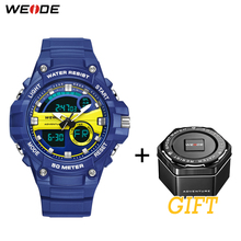 WEIDE Sports Military Luxurious Hour Clock Electronic Device 50 meters Water Resistant Quartz Analog Hand Digital Men WristWatch
