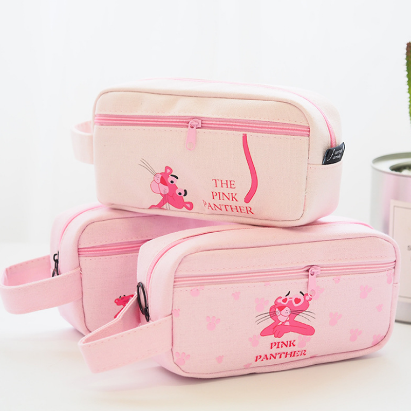1 Pcs Cute Canvas Animal Pink Panther School Pencil Case Kawaii Student Pencil Bag Stationery Pouch Office Supplies Gift veevanv animal wolf printing case holder casual pencil purse cute animal purses kids wallets school case for student pencil bags