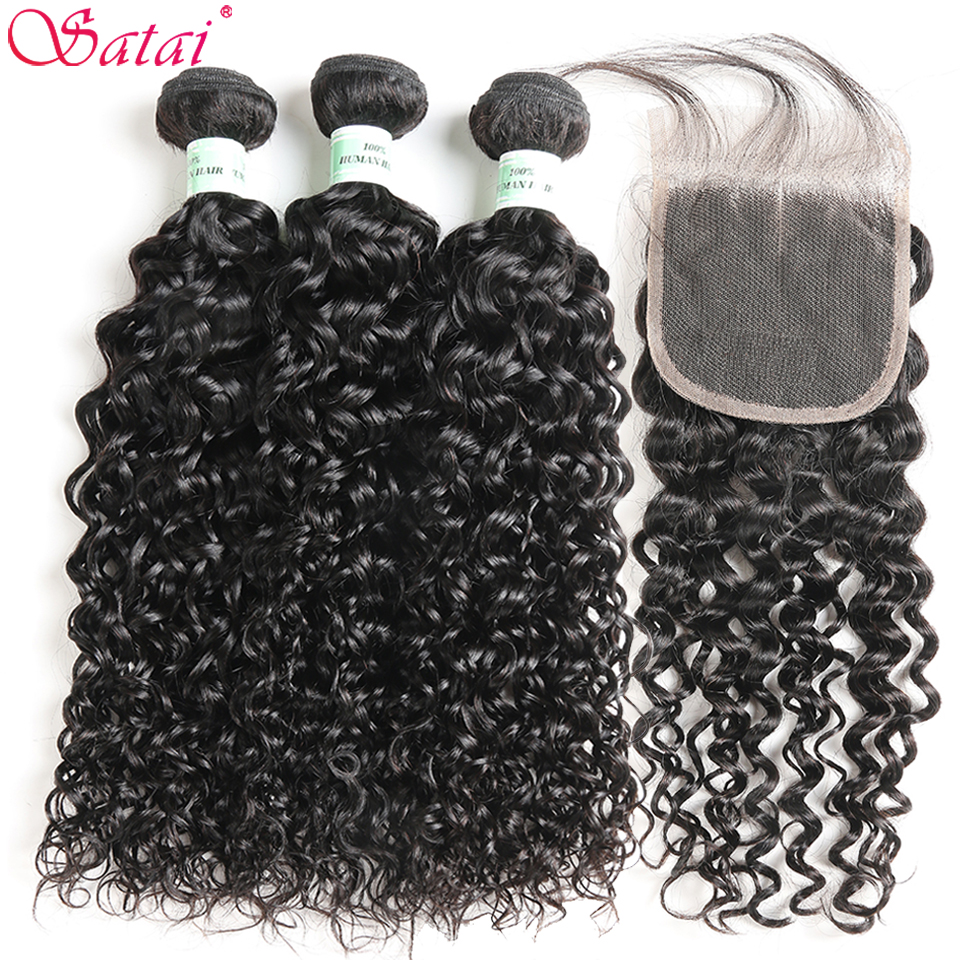Satai Water Wave 3 Bundles With Closure 100 Human Hair Bundles With Closure Brazilian Hair Weave