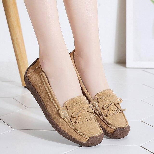 여성 스웨이드 가죽로 퍼스 여성 \ x27s 슬립 \ x2don 신발 고품질 편안한 신발 여성 플랫 스니커즈 여성 schoenen vrouw