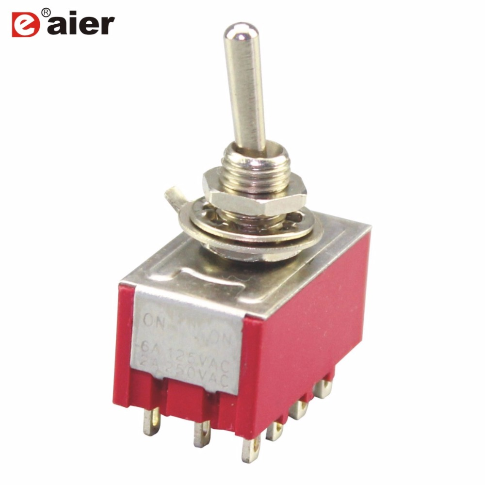 5Pcs Toggle Switches MTS-402 High Quality Red Guitar Switch 6MM ON/ON 4P2T AC 125AC/6A Amps 12 Pins 2 Position Latching Fuction image