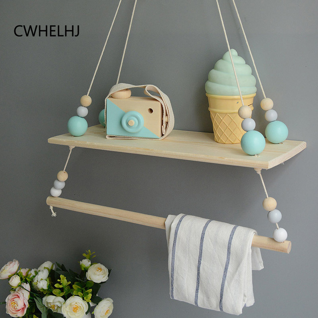 New Kids Room Wall Hanging Clothing Storage Racks Wood Beads Tassel Decoration Baby Clothes Hanging Shelves Photography Prop