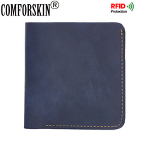 COMFORSKIN Brand RFID Protection Short Retro Simple Style Men Purse Premium 100 Genuine Leather Leisure Short