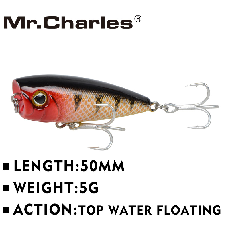 Mr.Charles CMCS 144 Fishing Lure 50mm/5g Floating Top water Assorted Colors Popper hard Bait Lure hot model crank bait 1pcs mini popper fishing lure model hard bait 7 colors 12