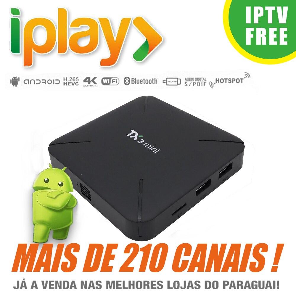 Iplay IPTV brésilien Apk avec TX3 Android 7.1 TV Box Amlogic S905W Quad Core 2 GB/16 GB H. 265 4 K service illimité