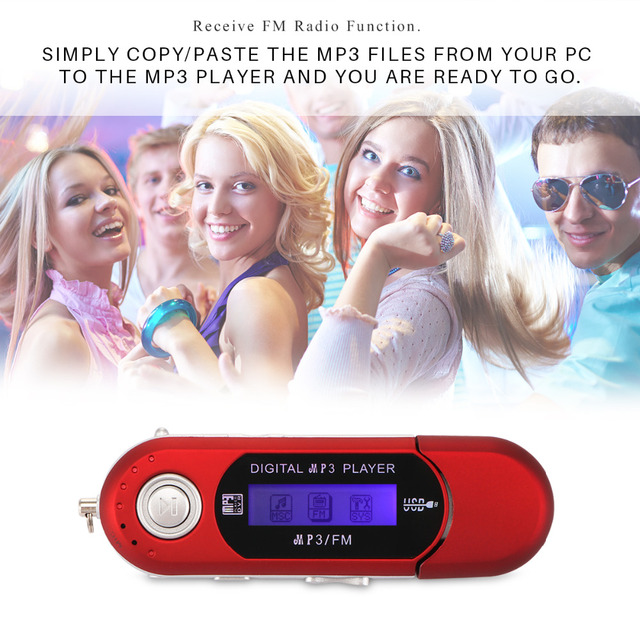 Powstro USB Digital MP3 Player LED Screen FM Radio Support TF Card Max Capacity 32GB with Built-in 3.5mm audio output jack