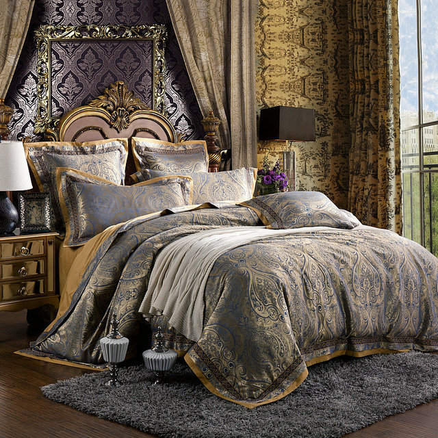 6pcs / Set Luxury Silk Bedding Set King Size Damask European Palace Style  Satin Silk Bed