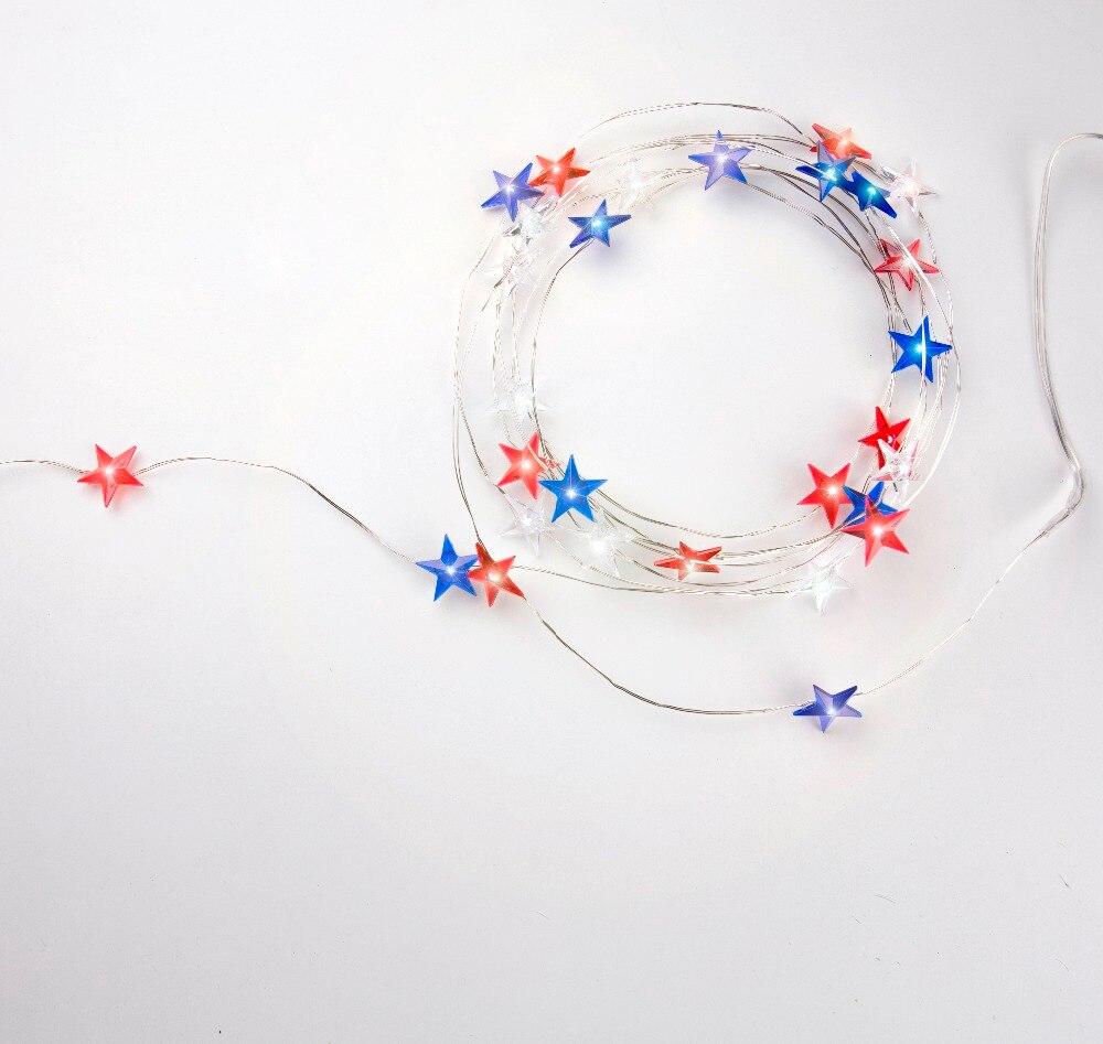 USA Flag Style 30 LED Red Blue White Star Light String AA battery ...