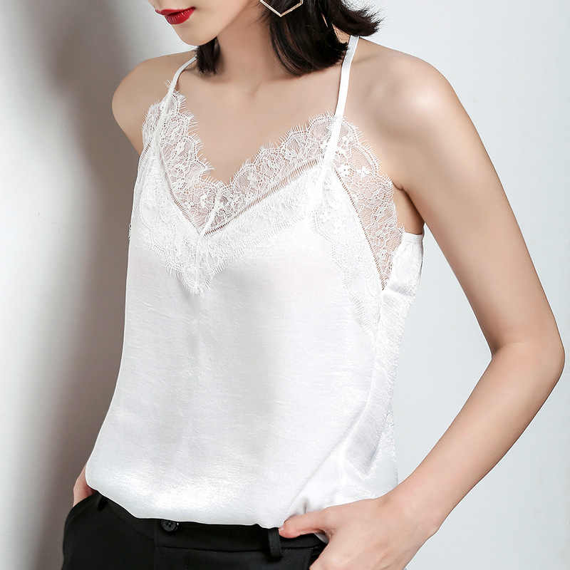 LUO SHA Lace Top Camis Sexy Lace Tank Top Women Camisole Ladies Solid Color V-Neck Sleeveless Shirt Backless Summer Shirt Female