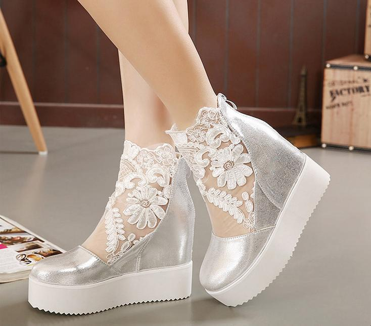 07bee56e0d0c Newest white silver sexy lace platform wedge heels dress shoes wedding shoes  peep toe women shoes 2 colors size 34 to 39-in Women s Sandals from Shoes  on ...