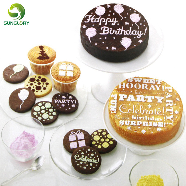 8PCS Happy Birthday Cake Stencil Mold Fondant Cupcake Cookie Stencils Template For Baking Party Decoration