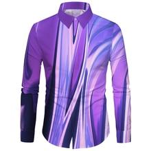 Cloudstyle 3D 꽃 프린트 남자 캐주얼 셔츠 격자 무늬 Camisas Hombre 드레스 셔츠 Wedding Homme Camisa 긴 소매 슬림 피트 셔츠