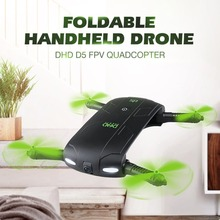купить DHD D5 Wifi FPV Foldable Selfie Drone Altitude Hold Mode 3D Flips&Rolls Headless Mode RC Quadcopter with 480P Camera недорого