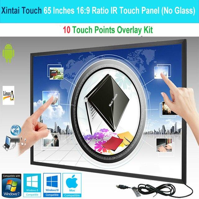 Сенсорная панель Xintai, сенсорный экран 65 дюймов, 10 точек касания, ИК, комплект сенсорных экранов (16:9), без стекла, Plug & Play