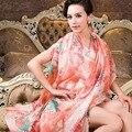 Mujeres de la manera de seda de la bufanda de primavera otoño invierno 100% bufandas de seda de morera amplió 2014 más el tamaño de orange rosa bufanda chal