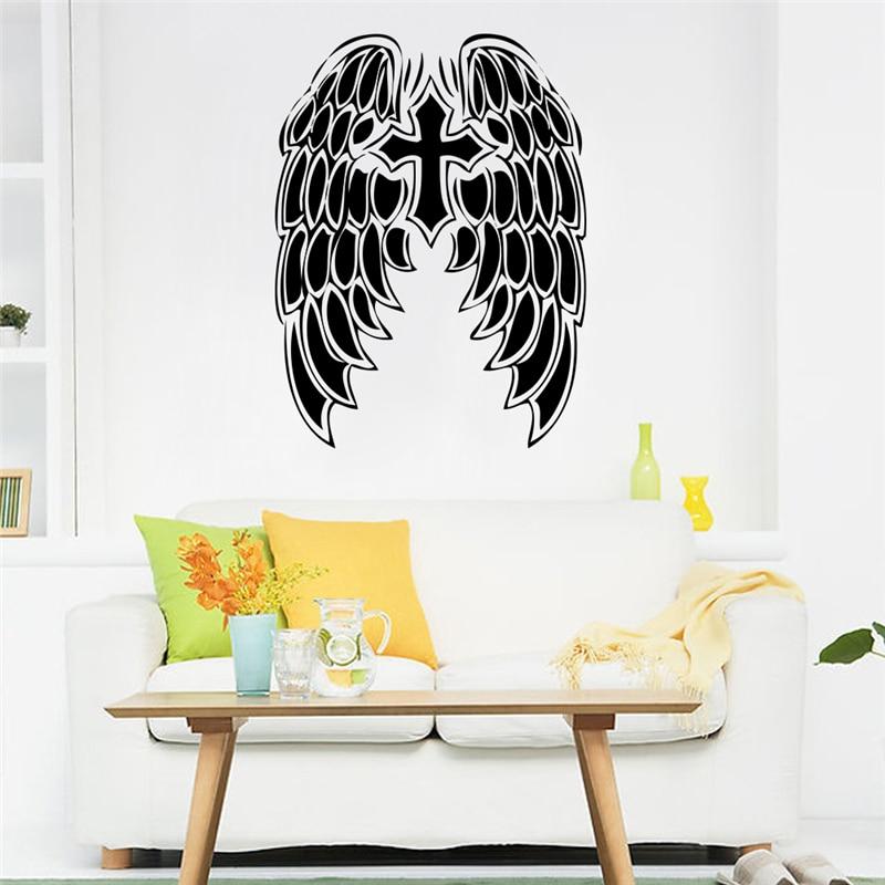 Plumas cruz pegatinas de pared decoración hogar tatuajes de mural de vinilo diy