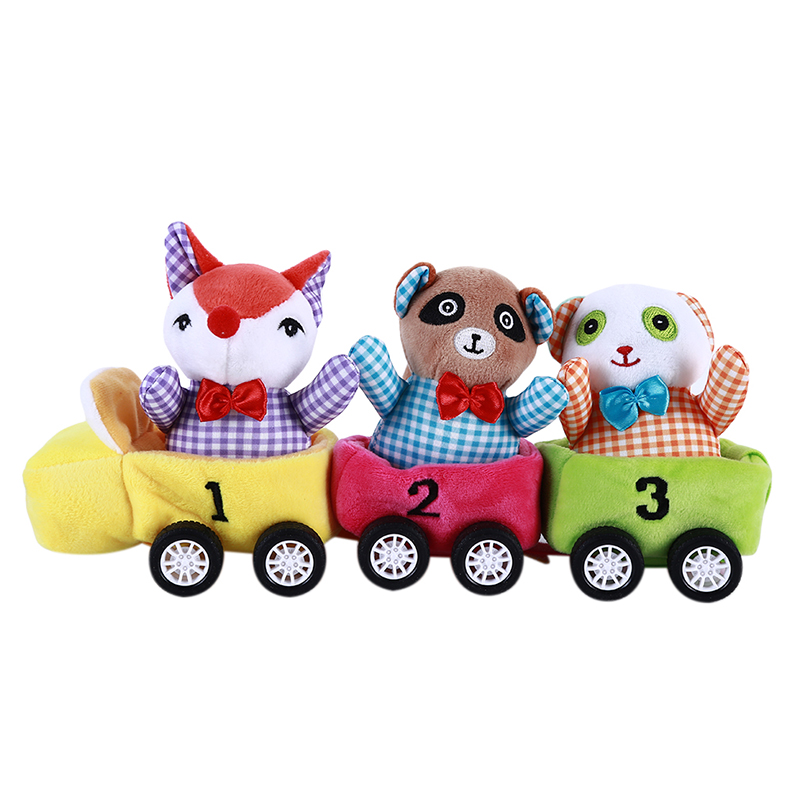 Cartoon Animal Cotton Blends Train Toys  For Baby Colorful Train Car Toys For Baby Early Development Popular Toy Gift