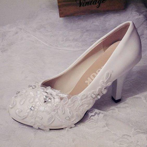 Plus Size Ivory Lace Wedding Shoes Bride Handmade Fashion Ivory