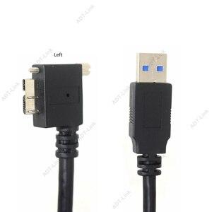 Image 4 - USB 3.0 b 90도 오른쪽 & 왼쪽 및 위 & 아래 각도 마이크로 B USB 3.0 잠금 나사 마운트 데이터 케이블 1.2 m 3 m 5 m