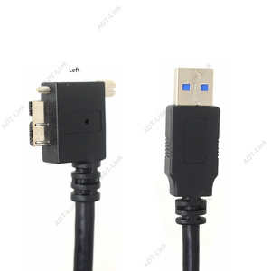 Image 4 - USB 3.0 b 90 תואר ימין ושמאל עד & למטה בזווית מיקרו B USB 3.0 עם נעילת ברגים הר נתונים כבל 1.2 m 3 m 5 m