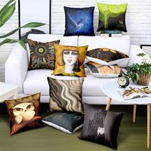 29 Styles Custom Wholesale Polyester Twill Pillow Case 45*45 Black Arts Printed Logo Brand Advertising Gift Bedding Cover