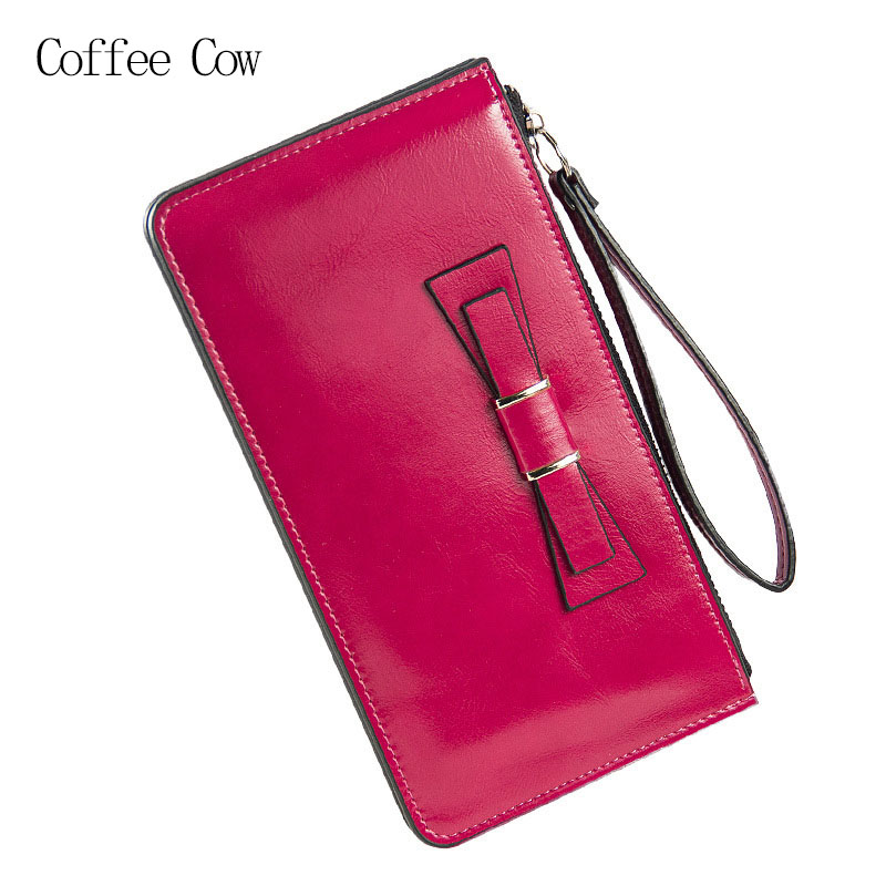 2016 Women Korean Clutch Wallets Dollar Price Lady's Candy Color Wallet Oil Wax Leather Long Purse Zipper Bow Phone Handbag 86 250mm competitive price bees wax foundation machine