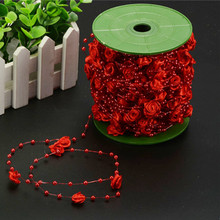 30m Rose Ribbon Pearls Beads Chain Garland Home Party Table Accessories Wedding Decoration