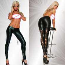 2018 Women Hollow Out Faux Leather Black Stretch Lace Up Punk Gothic Leggings Sexy PVC Render Pants Erotic Lingerie Costume