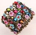 Flor floral estiramento pulseira larga para as mulheres verão bonito manguito moda jóias nupcial do casamento F28 gold & silver plated