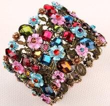 Flor floral pulsera elástica ancha de las mujeres del verano lindo manguito wedding la joyería nupcial gold & silver plated F28