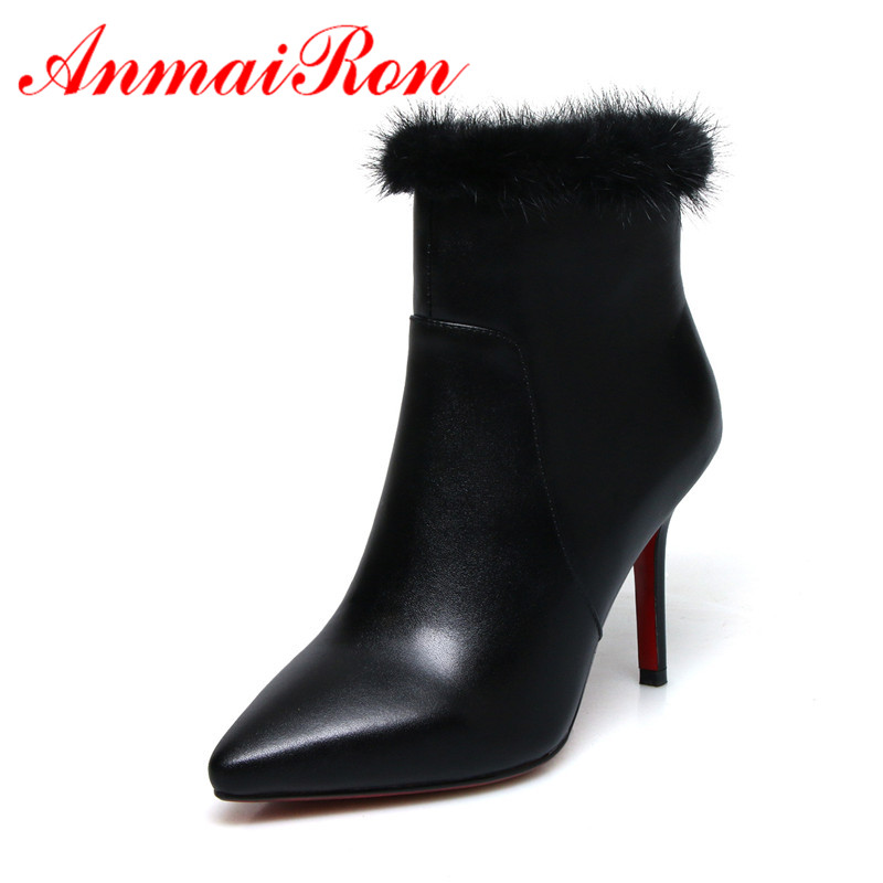 ANMAIRON Real Leather Women Ankle Boots Size 34-39 Causal High Heels Thin Heels Fashion Boots Pointed Toe Shoes woman Zip CR866ANMAIRON Real Leather Women Ankle Boots Size 34-39 Causal High Heels Thin Heels Fashion Boots Pointed Toe Shoes woman Zip CR866