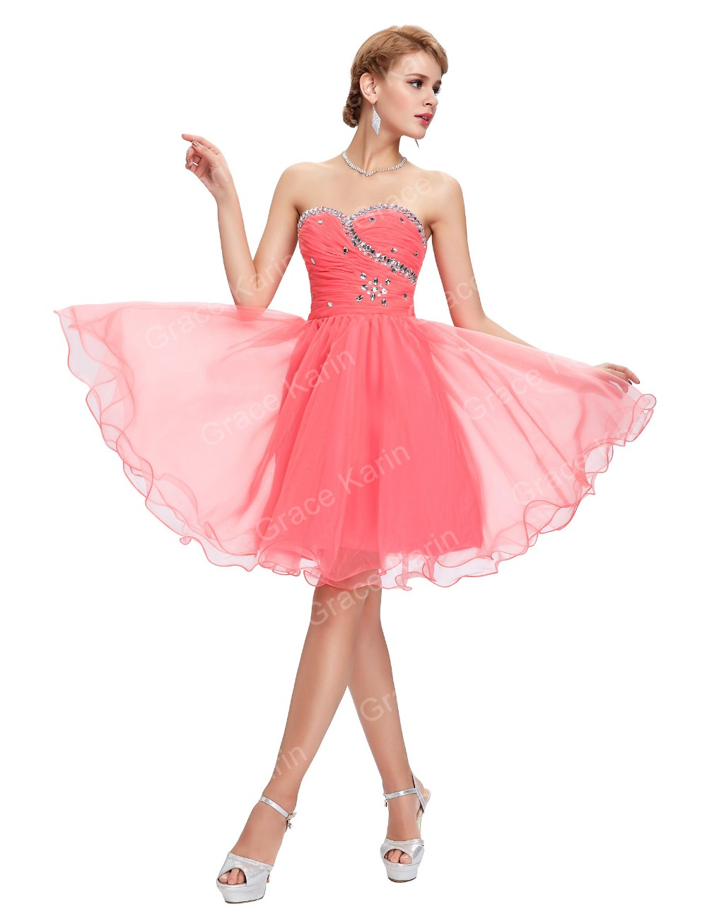 Corto Vestidos de baile 2018 gracia Karin gasa azul blanco rosa con ...