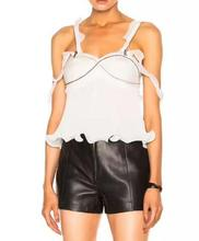 WISHBOP NEW Woman White Black Camis Zipper compose ruffles Straps Emrbroidered Front Pleated Frills hem Sleeveless tops