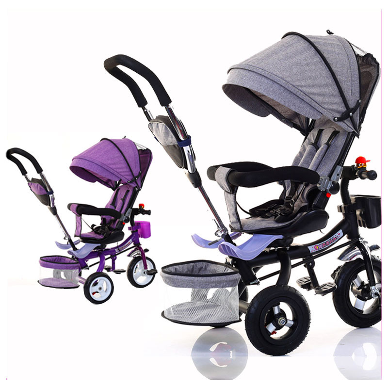 Child Tricycle Folding Bicycle Three Wheel Baby Bike Stroller Swivel Seat Baby Carriage Pushchair Buggy Pram for Kids Trolley