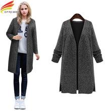 Plus Size 4XL 5XL Autumn Winter Coat Women 2017 V-Neck Collar Slim Cardigan Casaco Feminino Knitted Woman Long Coats Outerwear
