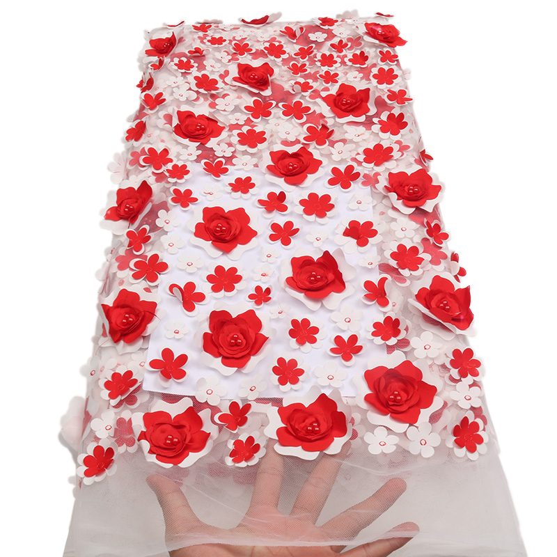 Latest White & Red French Tulle Lace Fabric African 3D Flowers With Beads Tulle Laces Fabric For Wedding Dressed XZ1719B-2