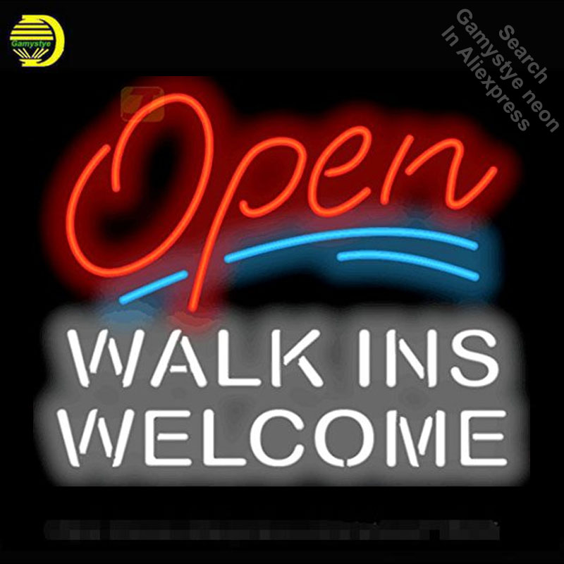 NEON SIGN For Open with Walk Ins Welcome display Custom Design Restaurant Shop Light Signs neon signs for sale light up signs
