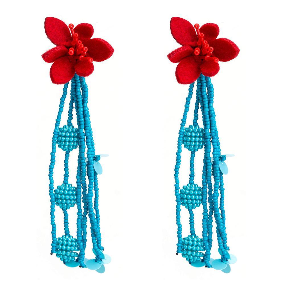 DreamBell 2019 New Women Chic Flower Braided Tassel Earring Bohemian Style Eardrop Bead Dangle Earrings