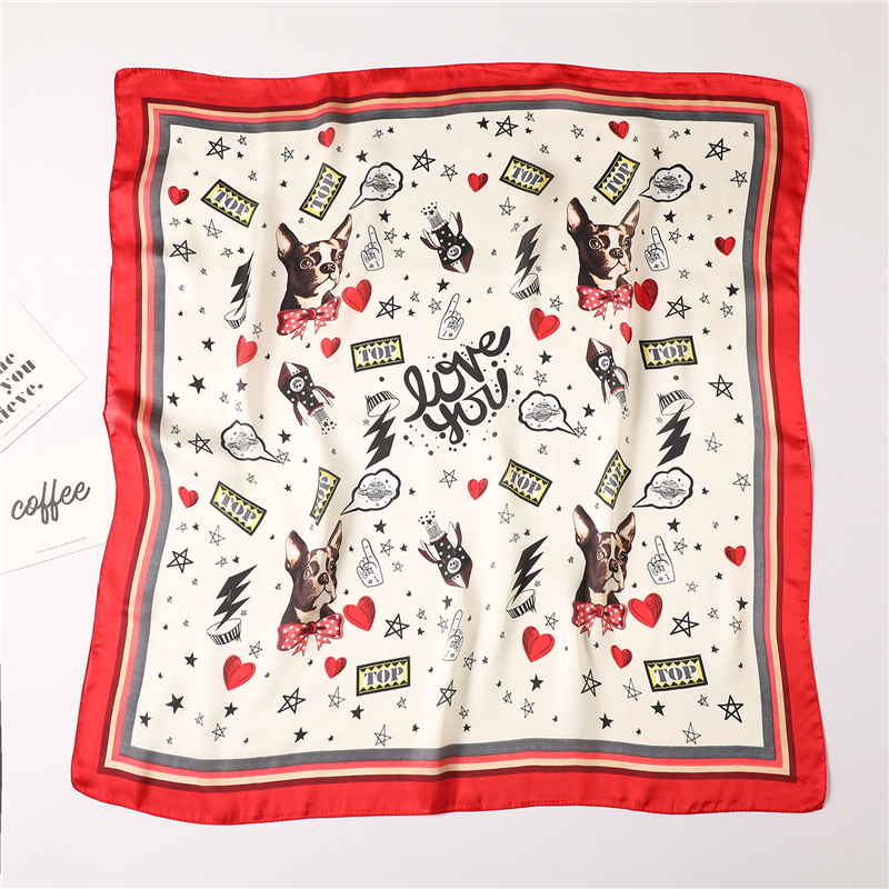 Cute Dog Print Scarfs For Women Silk Small Square Neck Scarf Lady Foulard Handkerchief 2020 Designer Wrap Band