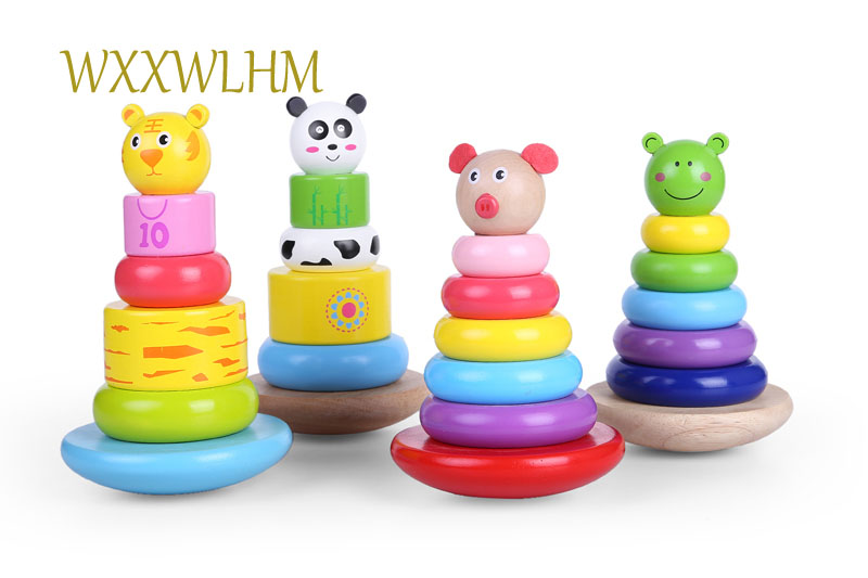 A Set Wooden Rainbow Tower Jenga Baby Colorful Layer Ring Toys Tower Tumbler Toy Baby Wooden Toys
