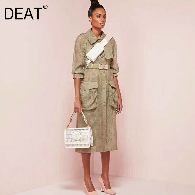 DEAT 2019 new summer fashion women clothes court styles turn down collar organza pocket spliced single