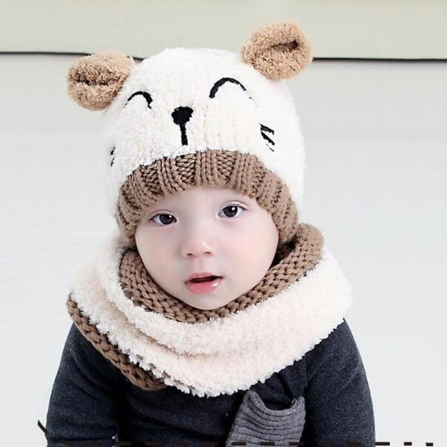 2017 Super Cute Winter Warm Baby Hat Pattern Knitted Cotton Hats For 1-4  year old baby Boys and Girls 4 Styles j3 744d69c9d09