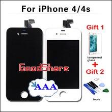 2 бесплатные подарки + aaa качество жк-экран для iphone 4/4s дисплей pantalla дигитайзер ассамблеи замена черный/белый тест работы хорошо