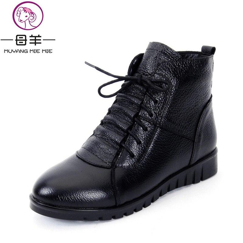 Ayakk.'ten Ayak Bileği Çizmeler'de MUYANG MIE MIE Artı Boyutu (35 43) kış Kadın Ayakkabı Kadın Hakiki Deri Düz yarım çizmeler Kar Botları Bayan Botları'da  Grup 1
